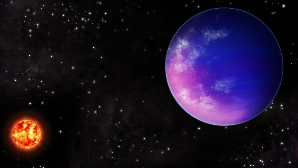 Artist drawing of purple planet beside red star