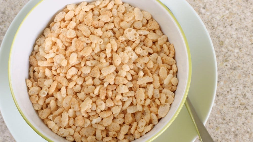Puffed crispy rice cereal