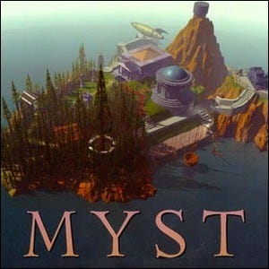 The original cover artwork for the Myst video game.