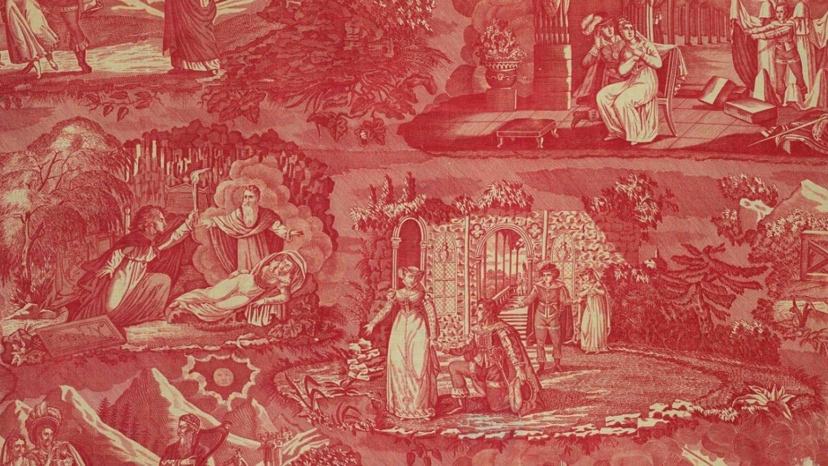 Four vignettes with figures in Elizabethan costume. Are scenes from an opera, popular in the 19th century, known as Le Vampire.