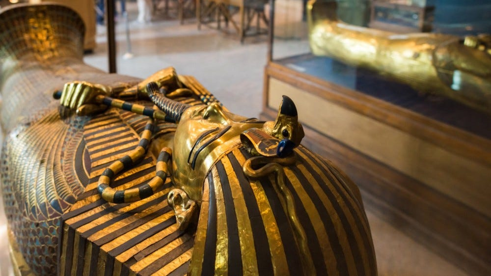 Tutankhamen's Coffin in Egyptian Museum in Cairo
