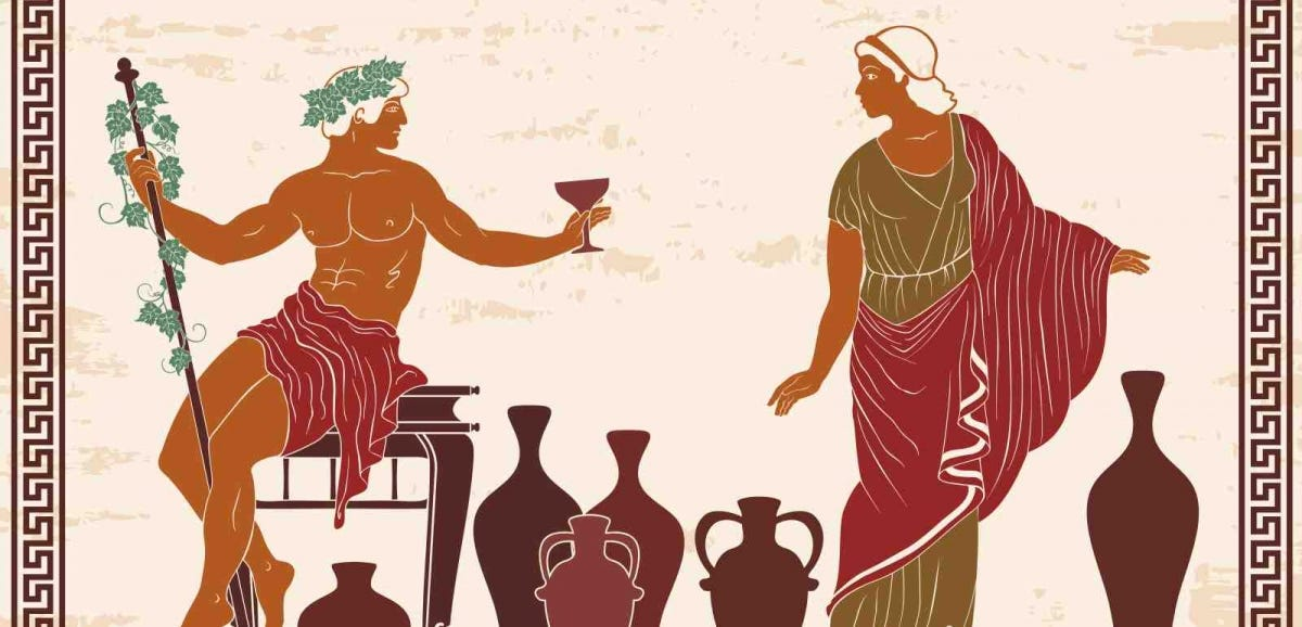 Heroes of ancient Greek myths Dionysus and Ariadne with jugs of wine