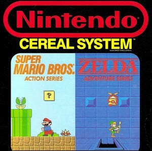 The front side of a box of Nintendo Cereal System breakfast cereal.