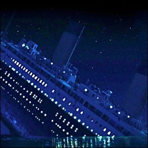 A scene showing the Titanic sinking against a backdrop of stars.