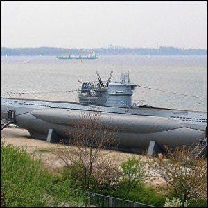 U-995, a Type VIIC/41 submarine at the Laboe Naval Memorial near Kiel, Germany.