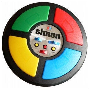 A Simon toy shown against a white background.